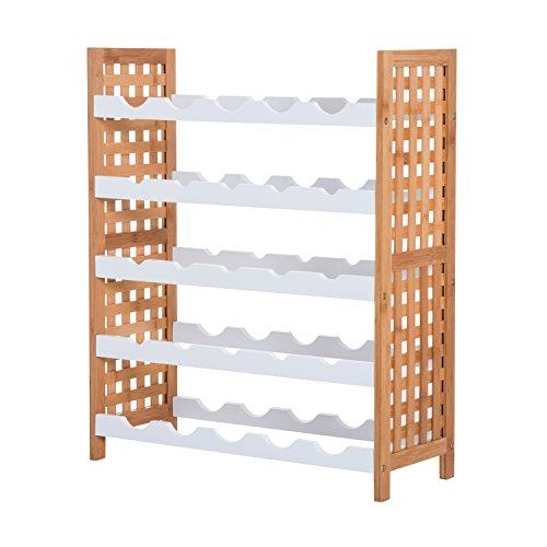 HOMCOM Botellero Bambú para 25 Botellas Estante de Vino Botellero Madera Apilable 5 Baldas Estantería para Apilar Cocina Sala de Estar 63x25x76cm Blanco