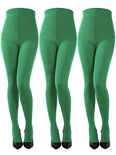 Kostüm Patrick Damen - 3 Stück Weihnachten Kostüm Strumpfhosen Footed Stretchy Leggings Damen Einfarbige Strumpfhosen für Weihnachten Saint Patrick Tag Cosplay (Farbe Satz 2)