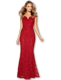 2d557164057 Quiz Red Lace Sequin Bardot Fishtail Maxi Evening Dress 10-18