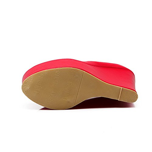 VogueZone009 Donna Finta Pelle Scamosciata Fibbia Tacco Alto Punta Tonda Puro Ballerine Rosso