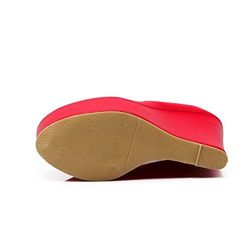 AgooLar Damen Pu Leder Hoher Absatz Rund Zehe Schnalle Pumps Schuhe Rot