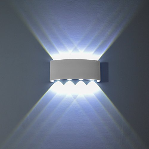Phoewon 8w led interno esterno bagno lampada da parete/faretto da parete/lampada da parete/illuminazione a parete, in alluminio resistente all' acqua montaggio a parete applique