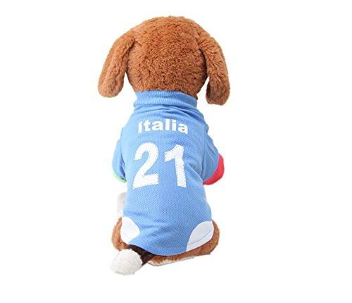 ELE GENS Hund Katze Huastier T Shirt Hoodies Sweatshirts Jacke Mantel Hundemantel Hundekleidung Sport Fußball Kleidung Kostüm für Kleine Hunde (S, #C (Einem Kostüm Hund In Fußball)