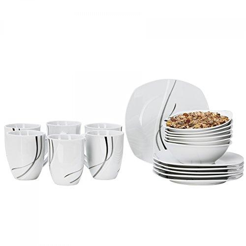 18 Silver night set pour 6 personnes comprenant 6 assiettes, 6 tasses et 6 bols-blanc porcelaine à lignes gris/noir
