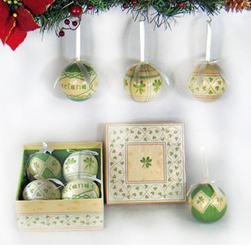 ments Shamrock Baubles Boxed Set of 4 by Royal Tara (Irish Christmas Ornamente)