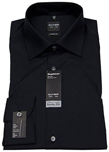 OLYMP Herren Hemd / Level 5 Body / Fit Langarm- Gr. 42, Schwarz (Body-slim-fit-hemden)