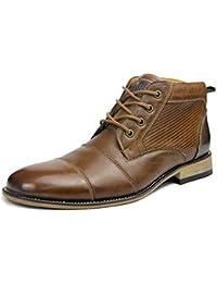 MERRYHE Botas Martin De Cuero Genuino para Hombres Zapatos De Vestir De  Negocios Formales con Punta Redonda Y Cremallera Lateral Botines… e14131ba277c