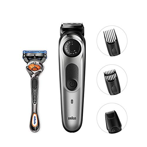 Detail Trimmer (Braun BT5060 Beard Trimmer and Hair Clipper, Detail Trimmer Attachment, Sharp Blades, Free Gillette Fusion5 ProGlide Razor with Flexball Technology, Black/Silver)