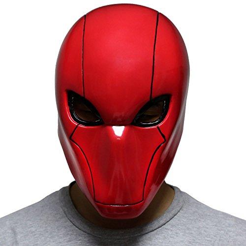 BIRDEU Halloween Red Hood Maske Deluxe PVC Voller Kopf Helm Film Replik für Erwachsene Cosplay Kostüm Kleidung Zubehör (Red Hood Helm Kostüm)