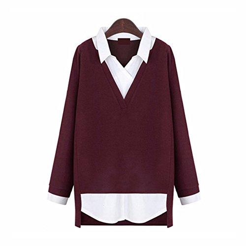 Newbestyle Langarmshirts Damen 2 in 1 Shirt Pullover Bluse Kontrastfarbe V-Ausschnitt Tops Frühling Herbst Weinrot X-Large