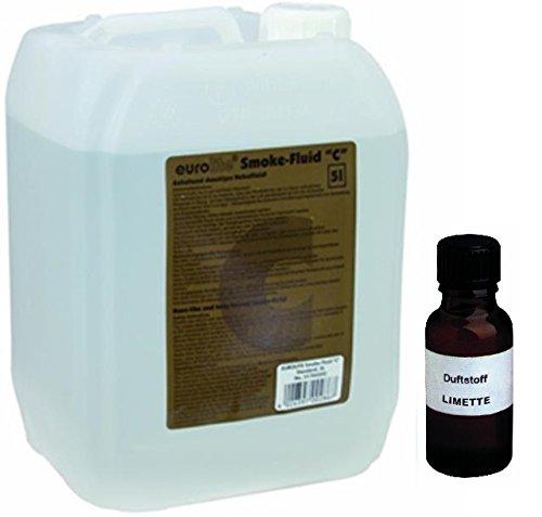 Nebelmaschine Lösung (5 Liter Eurolite C (Standard) Nebelfluid + 30 ml Duftstoff Limette-Zitrone, Smoke-Fluid, Nebel-Fluid-Flüssigkeit für)