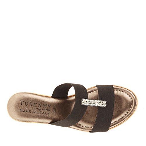 Easy Street Napoli Damen Schmal Stoff Keilabsätze Sandale Black