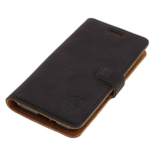 digishield Earth Case Rindsleder Book Tasche für Coolpad Torino S braun Made in Europe mit Standfunktion & Kreditkartenfächer
