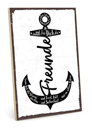 TypeStoff Holzschild mit Spruch - Freunde SIND EIN Hafen - im Vintage-Look mit Zitat als Geschenk und Dekoration zum Thema Freundschaft (19,5 x 28,2 cm)