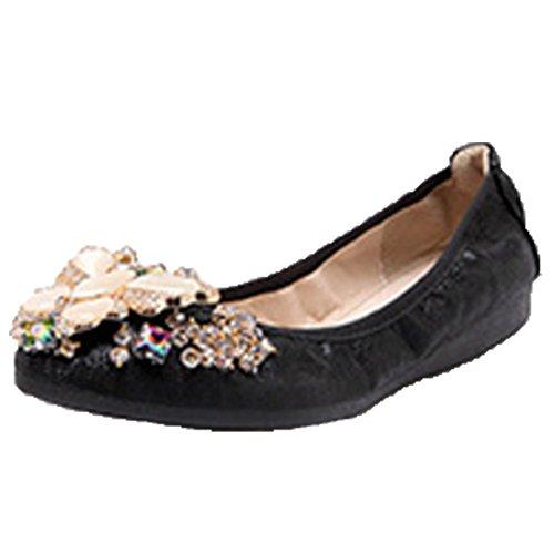 Ohmais Chaussure femme cérémonie Ballerines femme à bride Fête Demoiselle d'honneur Mariage Escarpin plat Noir