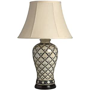 Large Beige Patterned Ceramic Table Lamp H1261 Vintage Style Perfect For All Living Rooms