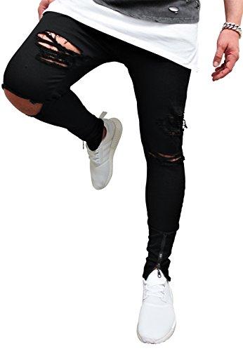 HERREN JEANS RÖHRENJEANS Risse destroyed Style Herrenjeans Biker Jeanshose Stretch black vintage Neu Blau Skinny Denim straight hose röhre shirt eng hellblau denim tee (32, Schwarz / night black)
