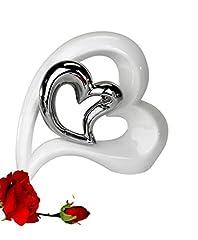 Idea Regalo - Vaso in Ceramica Decorativo a Forma di Cuore, Colore Bianco e Argento, Altezza 22cm
