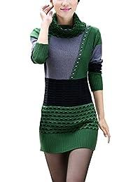 TOOGOO(R)Damen Strickpullover Blusen Oberseiten Rollkragenpullover Langarm  Shirt Grasgruen + grau f6fa2e0d5f