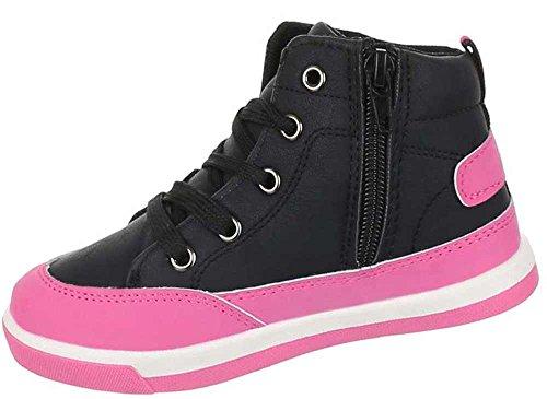 Kinder-Schuhe Sportschuh | sportlicher Sneaker mit Schnürung in verschiedenen Farben und Größen | Schuhcity24 | High-Top Freizeitschuhe Turnschuhe in Lederoptik Nr 1 Schwarz