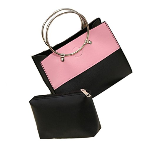 Yogogo femme sac à dos, 2pcs Mode Femmes Poignées rondes Messenger PU Sac en cuir 17 * 20 * 10cm