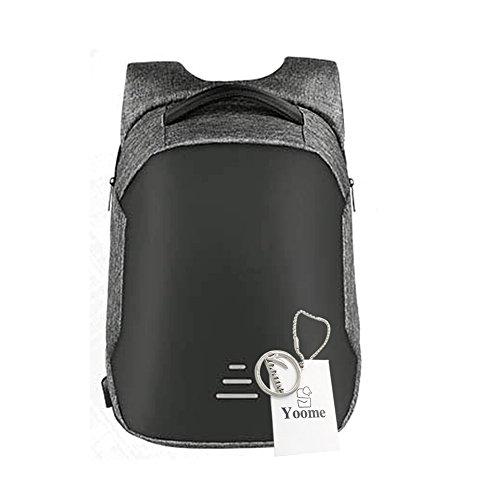Yoome Zaino per laptop da viaggio Anti Theft Slim Resistente Laptop Zaino con porta USB di ricarica, Resistente allacqua College Computer Bag per gli uomini Adatto a Laptop da 15,6 pollici - Blu Grigio