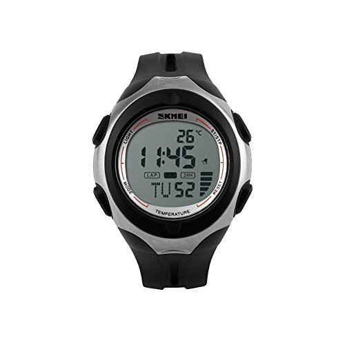 iLove EU Herren Armbanduhr 50m Wasserdicht Digital LED Alarm Datum Uhr Sportuhr mit Grau Zifferblatt und Schwarz Silikon Band