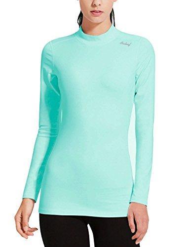 Baleaf Damen Warme Thermo Fleece Laufshirt T-Shirt Fitness Langarm Shirt Aqua Größe XS (Top Tank Mädchen Aqua)