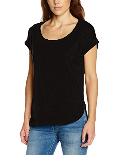 Urban Classics Ladies Long Back Shaped Slub Tee, T-Shirt Donna, Nero (Black 7), Medium