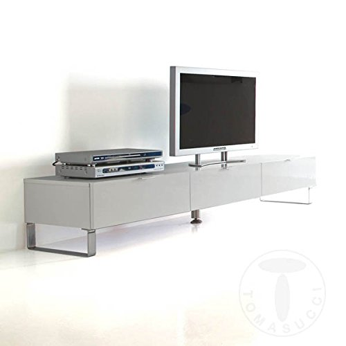 Meuble Base Porte TV 3 tiroirs System blanc laqué brillant 180 x 45 x H.32 cm