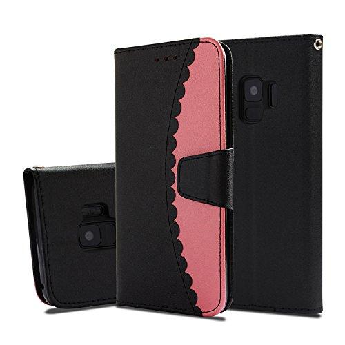 Flymaff Schutzhülle für Samsung Galaxy S9, mit Glas-Displayschutzfolie, PU-Leder, Brieftaschen-Schutzhülle mit Ständer und Klappdeckel für Samsung Galaxy S9