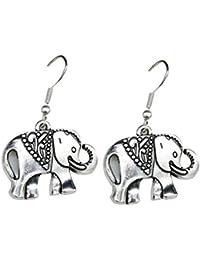 874703f9115f GANXIA Home Encantador Pendiente Étnico Plateado Elefante Forma Pendientes  Pendientes Gancho Accesorios de Joyería para Mujeres