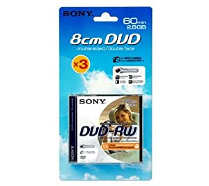 Sony DVD-RW Capacité 2,8 Go 8 cm Lot de 3