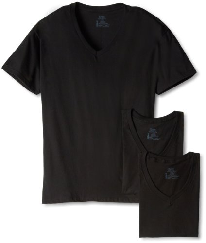 Hanes Baumwoll-unterhemd (Hanes Ultimate Men's 3-Pack V-Neck Tee, Black, X-Large)