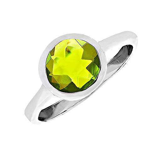 Silverly Frauen .925 Sterling Silber Synthetische Peridot Rund Grün Edelstein Ring