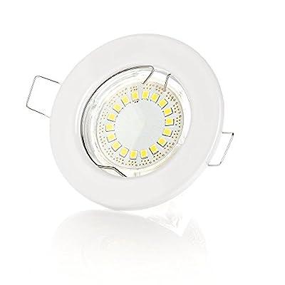 10 Stück x SW-RC01N Einbaustrahler Set Led GU10 5W 400 Lumen 230V Einbau Rahmen | Einbauspots |Einbauleuchten |Einbaulampen |Einbau Led