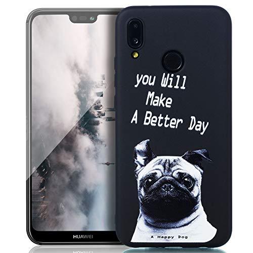 Kompatibel mit Huawei P20 Lite Hülle, Silikon Handyhülle für Huawei P20 Lite Case Stoßstange Crystal Flexible Funkelnd Anti-gelb Ultraweich Slim Ultradünn Fit Silikon Case -Mops