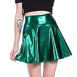 TUDUZ Mini Falda De Lentejuelas Plisada Acampanada MetáLica Brillante para Niña Mujer Enaguas Cortas (Verde, XL)