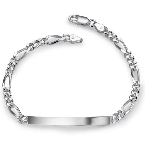 Gravurarmband Silber 18 cm, Breite: 4 mm, Kettenart: Figaro, Länge (cm): 18 cm, Materialstärke: 1.5 mm, Verschluss: Karabiner, Zielgruppe: XVision