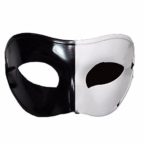 ParttYMask Maskerade,Schwarzes und weißes halbes Gesicht Maske männlicher und weiblicher Retro- Ball Schablone Yin und Yang Masquerade