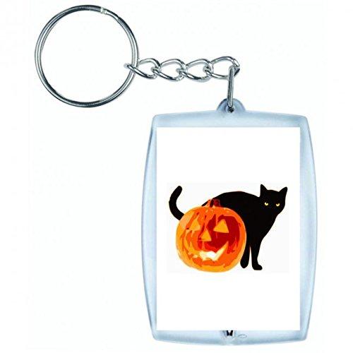 üsselanhänger Halloween- Tier- Katze- Jack O Laterne- KÜRBIS- GRUSELIG in Weiss | Keyring - Taschenanhänger - Rucksackanhänger - Schlüsselring ()