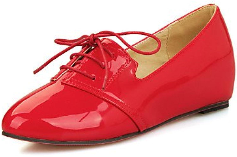 ZQ Zapatos de mujer - Tacón Cuña - Punta Redonda - Oxfords - Vestido / Casual - Cuero Patentado - Negro / Rojo...
