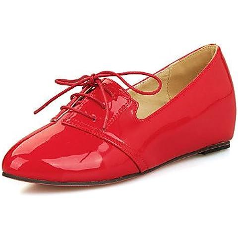 ZY/scarpe da donna brevetto in pelle zeppa punta arrotondata vestito
