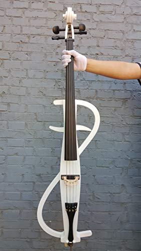 Yinfente violoncello elettrico 4/4 full size in legno massello ebano raccordi con borsa, archetto, colofonia, cavo AUX 4/4 Blue