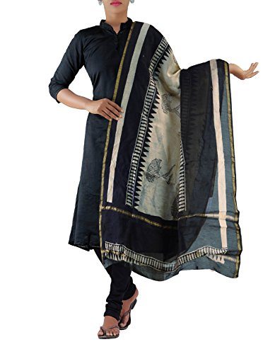 Unnati Silks Women Cream-black Pure Chanderi Sico Dupatta