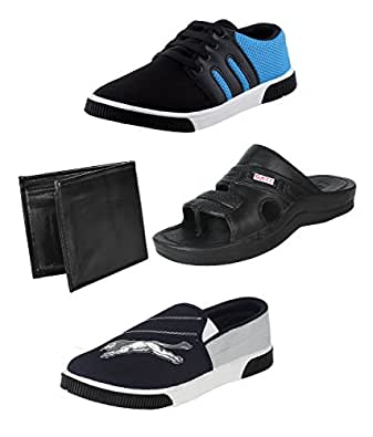 Earton Men Combo Pack of 4 Casual Shoes With Wallet,Flip-Flops & Loafer & Moccasin (10 UK)