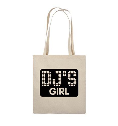 Comedy Bags - DJ'S GIRL - NEGATIV PUNKTE - Jutebeutel - lange Henkel - 38x42cm - Farbe: Schwarz / Pink Natural / Schwarz
