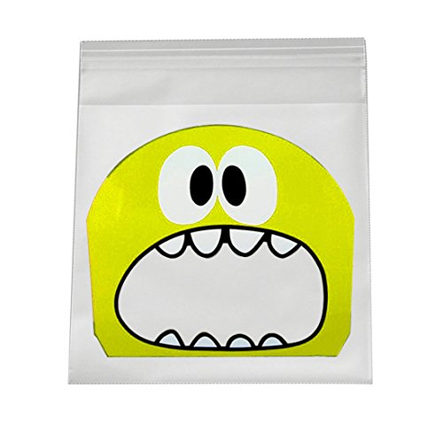 Cute Cartoon Monster selbstklebend Candy Bag Kunststoff Cookie Geschenkpapier Dichtung, gelb, 7*7+3cm