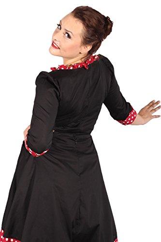 SugarShock Damen POLKA DOTS Ruffle Kirschen Rockabilly pin up Rüschen Bluse weinrot Schwarz