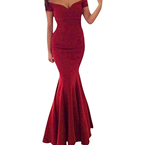 SaiDeng Mujer Vestido De Novia De V Cuello Fiesta De Baile Vestido Sin Espalda Maxi Falda Rojo XL